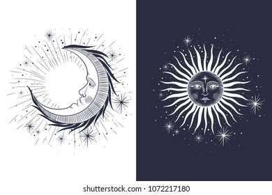 the face of the sun and the moon, the stars, the Masonic tattoo, the design of T-shirts, alchemy, Akultism, medieval religion, retro, spirituality and isoteric tattoo. space and stars. vector graphi