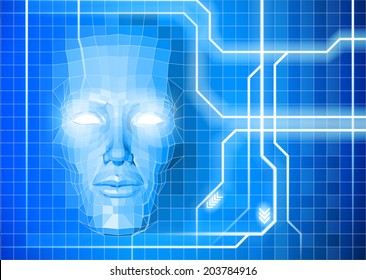 A face technology background abstract concept of a blue face emerging from an electronic grid