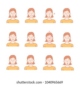 A face that reveals various emotions. hand drawn style vector doodle design illustrations.