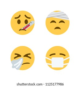 Face with Thermometer, Face with Head-Bandage, Sneezing Face, Face with Medical Mask. Vector illustration smiley emojis, emoticons, icons, symbols, faces set, group.