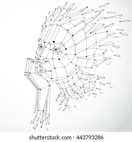 Face of a thinking woman created in low poly style and with connected lines, 3d vector black and white wire frame human head, brain exploding which symbolizes intelligence and imagination.