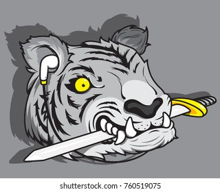 face of tiger with sword