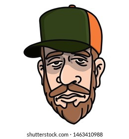 Face of a tree-cutter with truckercap and beard in color. Character, scribble, outline, comic, ink, sketch, doodle, vector, illustration, line, cartoon, black, white, drawing, stroke, color.