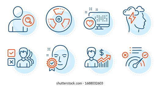 Face verified, Heart and Chemical hazard signs. Correct answer, Mindfulness stress and Business growth line icons set. Opinion, Find user symbols. Approved, Cloud storm. Business set. Vector