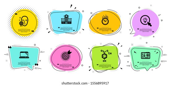 Face verified, Time and Laptop line icons set. Chat bubbles with quotes. Motherboard, Chemical formula and Hospital building signs. Target purpose, Energy symbols. Access granted, Clock. Vector