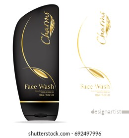 Face wash template, blank cosmetic package design isolated on white background, 3D illustration, charms gold label, face wash for men