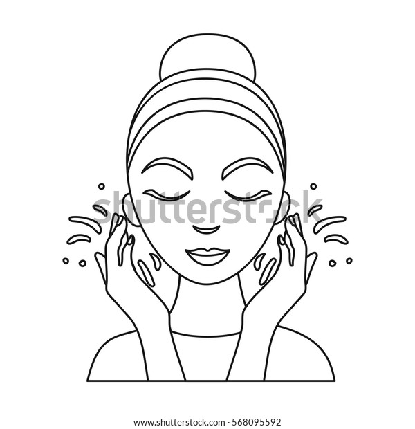 Face washing icon in outline style isolated on white background. Skin care symbol stock vector illustration.
