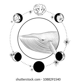 the face whale. the moon, the stars, the Masonic tattoo, the design of T-shirts, alchemy, Akultism, medieval religion, retro, spirituality and isoteric tattoo. space and stars. vector graphic