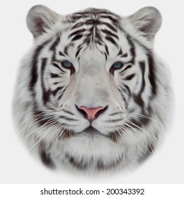 Face of a white bengal tiger, isolated on white background. Mask of the biggest cat. Wild beauty of the most dangerous and mighty beast of the world. Amazing vector image in oil painting style.
