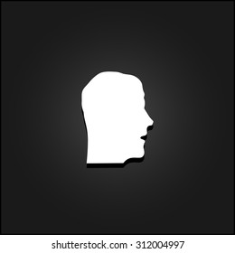 Face. White flat simple vector icon with shadow on a black background