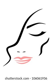 Face of  woman with closed eyes on white background. Vector.