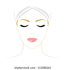 Face of woman with closed eyes on white background. Color illustration. Vector version.