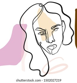 face of woman drawn one continuous line in trendy modern minimalism style with freehand pastel colors geometric elements, brush.  Abstract creative composition.