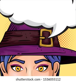 face woman with hat witch and speech bubble style pop art vector illustration design