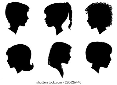 Face Woman Profile Vector Silhouette.