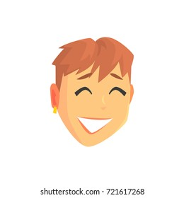 Face of a young beautiful smiling woman with short hair, positive female character cartoon vector illustration