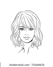 Face of a young beautiful woman with long hair. Women hairstyle icon. Logo women face with fashionable hairstyle. Vector Illustration