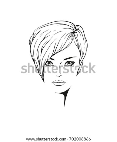 Face Young Beautiful Woman Short Hair Stock Vector Royalty Free