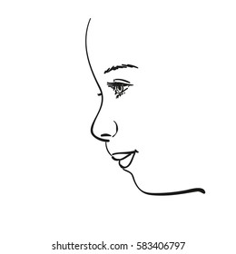 Face of young girl in profile, Vector sketch Hand drawn illustration