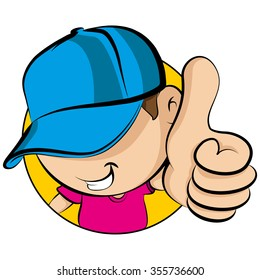 Face of a young kid wearing baseball cap showing thumbs up