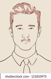 face of a young man with fashionable hair and mustache hand drawn vector eps 10