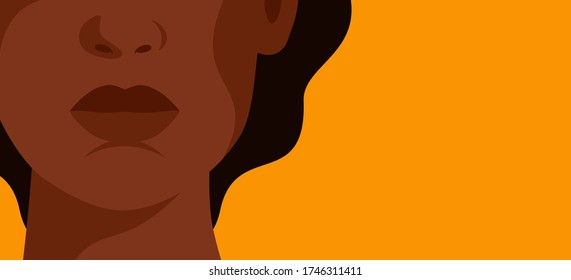 The face of a young strong African woman on yellow background. Concept of fighting for equality and female empowerment movement. Vector horizontal banner.