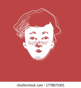 Face of a young teenage boy portrait with freckles on red background. Vector illustration