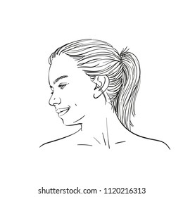 Face of young teenage girl in profile with long hair in ponytail, Hand drawn linear illustration isolated on white background, Vector sketch