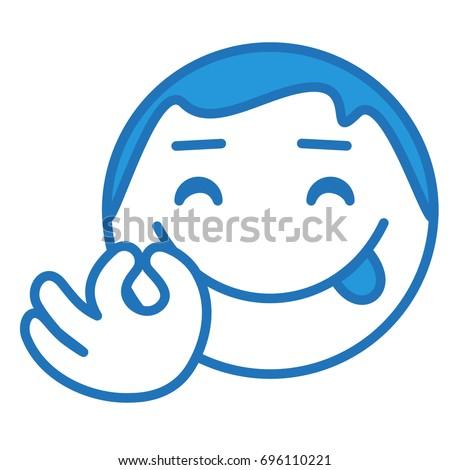 Face Yummy Expression Emoticon Delicious Gesture Stock Vektorgrafik