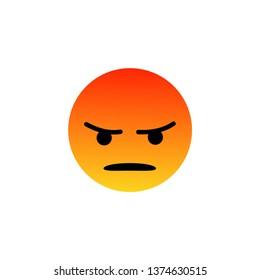 Facebook angry, mad emoji, emoticon.Social media smiley.