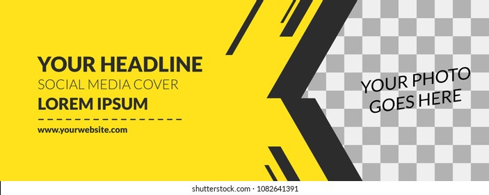 Facebook Cover Web Banner Social Media Yellow Design Stripe Template Vector
