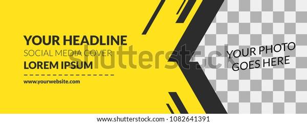 Facebook Cover Web Banner Social Media Yellow Design Stripe Template Vector