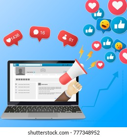 Facebook  Digital advertising, vector 3d concept, online conference, media promotion, laptop speaker illustration
