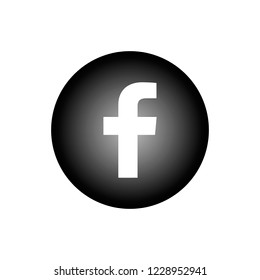 Facebook icon or sign. Black round button isolated on white background. For letter F.