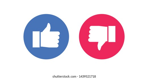 Facebook Like and Dislike Vector Flat Icons on White Background. Design Elements for Marketing, Business, Advertisement, Digital Network - Vector