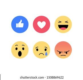 Facebook like. Emoji, Emoticons. Social network reactions. Vector