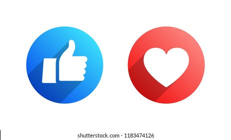 Facebook Like and Heart Vector Modern Icons Isolated on White Background. Design Elements for Social Network, SMM, CEO, APP, UI, UX, Marketing, Business, Advertisement