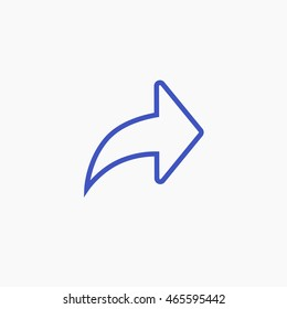 Facebook outline Forward Icon Vector. Arrow Graphic. Social Media User Interface Sign. Flat Illustration. FB UI Symbol. 2016 Design