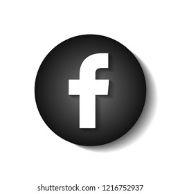 Facebook sign. Black round button with shadow isolated. Vector illustration