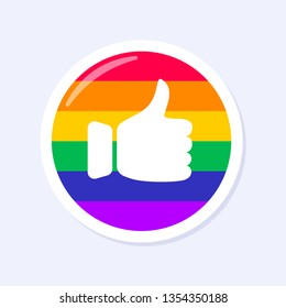 Facebook Thumbs Up Icon. LGBTQ+ related symbol in rainbow colors. Gay Pride.  Raibow Community Pride Month. Love, Freedom, Support, Peace Symbol. Flat Vector Design Isolated on White Background