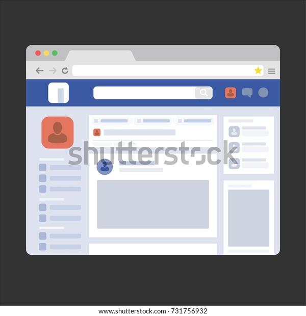 Facebook Web Page Browser Concept Social Stock Vector