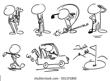 Faceless characters playing golf