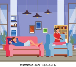 faceless couple and living room