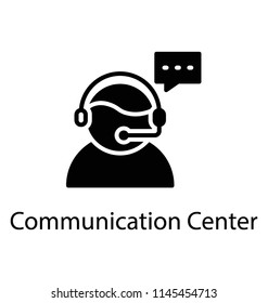 A faceless customer representative avatar with microphone and a speech bubble denoting communication center icon