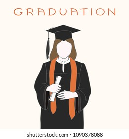 Faceless girl in graduation gown in cap and with a diploma in hands. Handwritten inscription graduation.