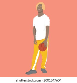Faceless human figure standing over plain background. Young male with long pant and sweatshirt with basketball. Minimalist character. Fashion, trendy and lifestyle flat people.