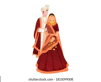 Faceless Indian Wedding Couple Together Standing on White Background.