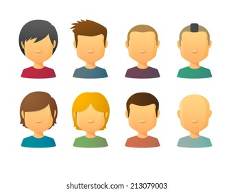 Faceless male avatars set with various hair styles