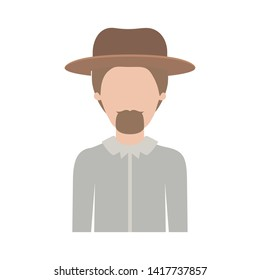 faceless man half body with hat and shirt with short hair and goatee beard on colorful silhouette