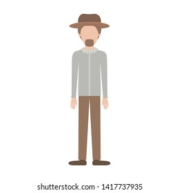 faceless man with hat and shirt and pants and shoes with short hair and goatee beard on colorful silhouette